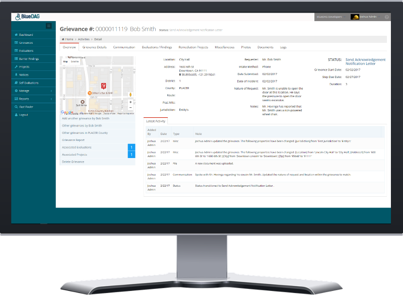 Grievance Overview sml | Software for ADA assessment