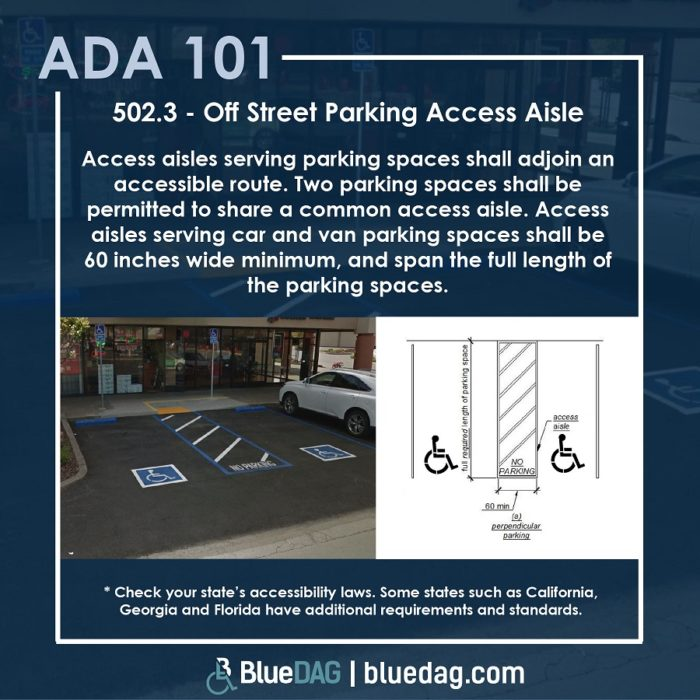 502.3 - Off Street Parking Access Aisle Access aisles serving parking spaces shall adjoin an accessible route. Two parking spaces shall be permitted to share a common access aisle. Access aisles serving car and van parking spaces shall be 60 inches wide minimum, and span the full length of the parking spaces.