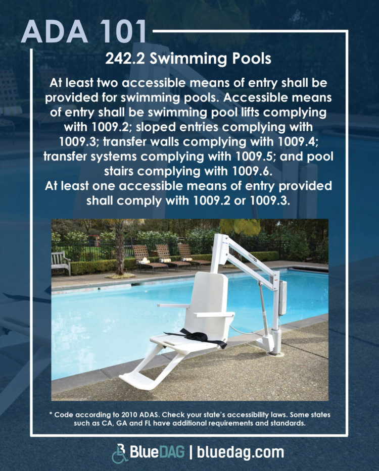 242.2 Swimming Pools At least two accessible means of entry shall be provided for swimming pools. Accessible means of entry shall be swimming pool lifts complying with 1009.2; sloped entries complying with 1009.3; transfer walls complying with 1009.4; transfer systems complying with 1009.5; and pool stairs complying with 1009.6. At least one accessible means of entry provided shall comply with 1009.2 or 1009.3.