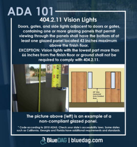 ADA 101 graphic, blue background, top half contains ADAS 2010 section 404.2.11 Vision Lights text in white lettering, bottom half contains two pictures, left picture is of a non compliant glazed panel in a grey door, the right picture is a graphic of two doors with measurement lines showing compliant glazing panels, below the pictures are a disclaimer to check local accessibility laws, the BlueDAG logo and bluedag.com.