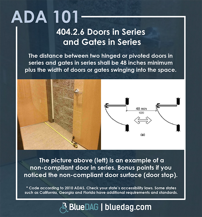 ADA 101 Info graphic with ADAS 2010 section 404.2.6 text and example pictures
