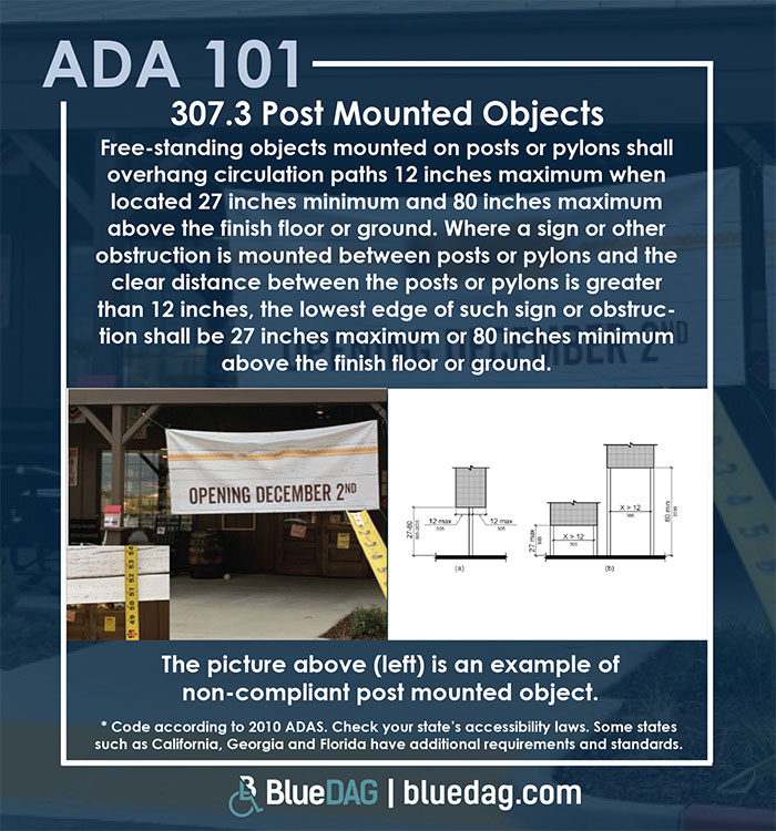 ADA 101 info graphic with ADAS 2010 section 307.3 code text and example pictures
