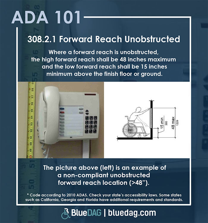 ADA 101 info graphic with ADAS 2010 section 308.2.1 code text and example pictures