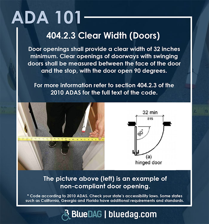 ADA 101 info graphic with ADAS 2010 section 404.2.3 code text and example pictures