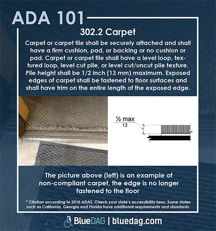 ADA 101 info graphic with ADAS 2010 section 302.2 code text and example pictures